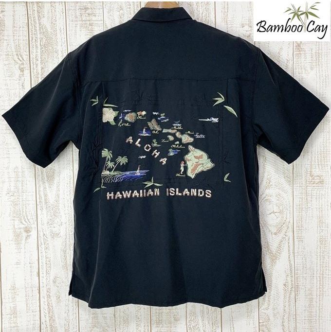 アロハシャツ Bamboo Cay バンブーケイハワイアンアイランド刺繍・ブラック黒・ブラック/メンズ/リゾート着/ギフト・プレゼント海外ウェディング/海外挙式/結婚式シルク風レーヨン素材・ポリ混毛【父の日】
