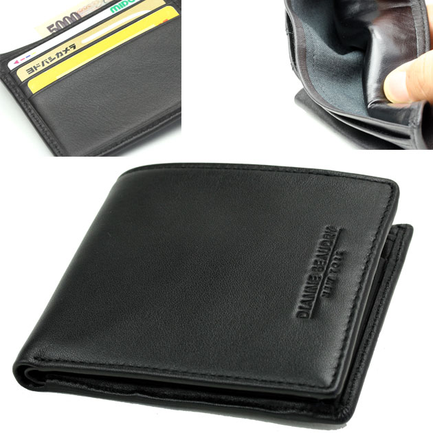 The soft touch of the men's cowhide folio wallet rustle! Diane Baudry (DIANNE BEAUDRY) cowhide wallet brand folio wallet wallet black period-limited sale brand luxury brand wallet wallet coin purse men man AZ-710 02P03Dec16 born in New York