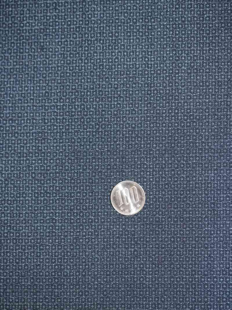 メンズ着物・羽織生地 o-22 亀甲かすり柄・紺灰地