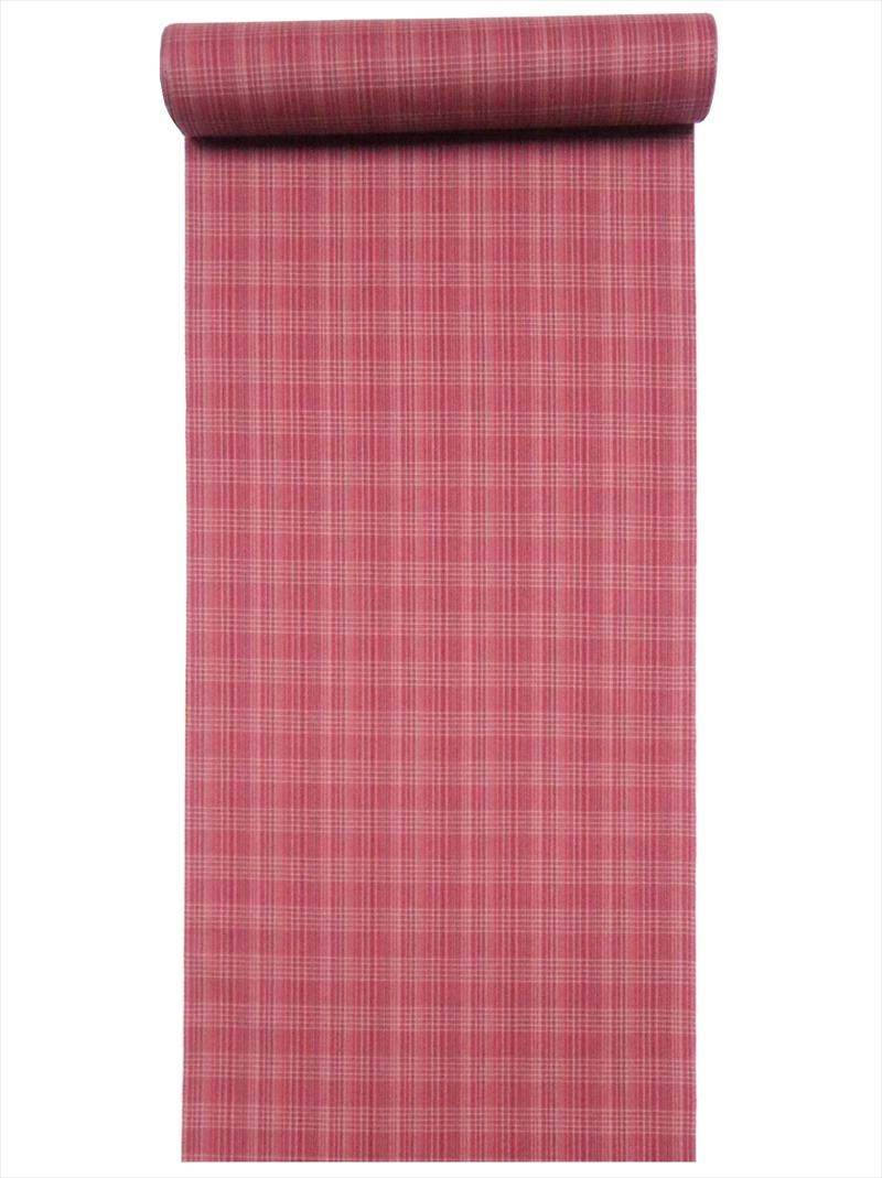 正月用 きもの 生地 新品 ウール着物 安い 激安 プチプラ 高品質 反物 No.91赤茶地 格子柄