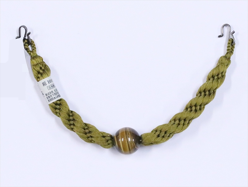 羽織り紐 男物   hh-62・虎目石・カラシ色