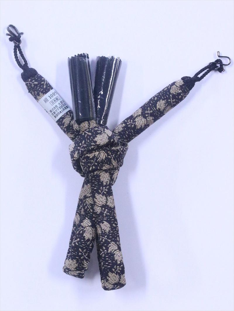 男物 羽織り紐  hh-72  桐柄・こげ茶地