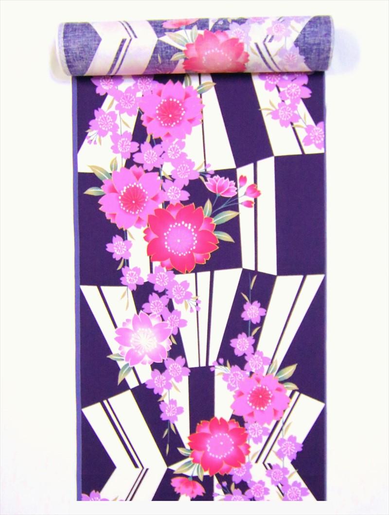 浴衣 反物 No.183白紫地・桜・変則市松柄
