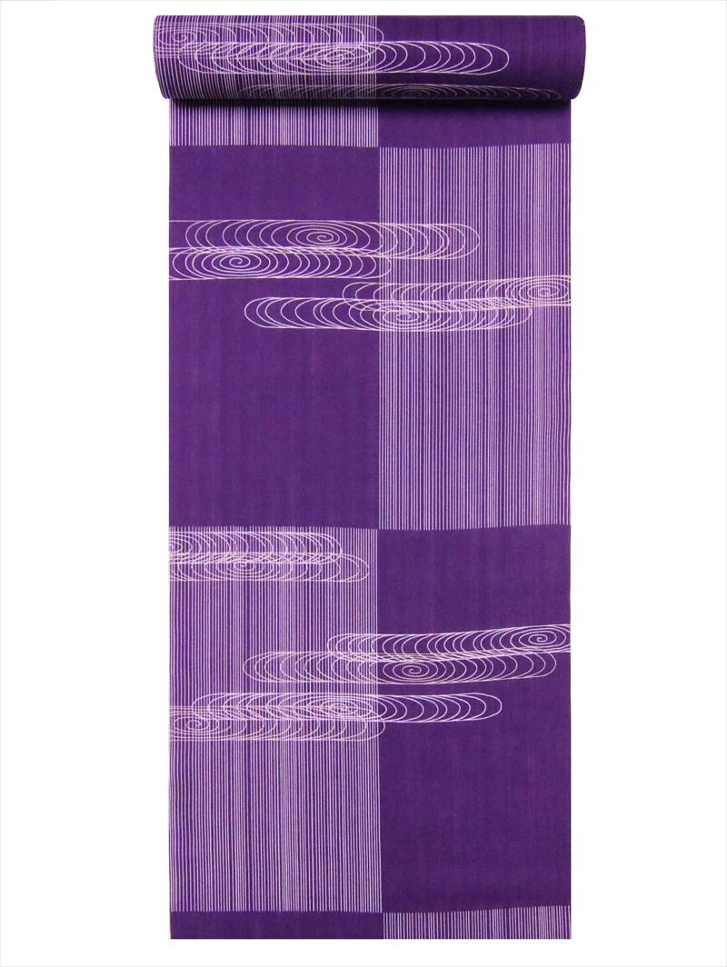ゆかた 反物  No.73 紫地・観世水・市松縞柄