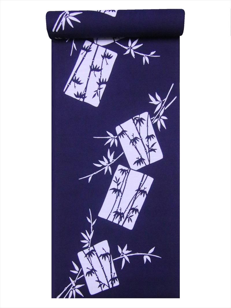 ゆかた 通常便なら送料無料 生地 浜松本染め メイルオーダー 浴衣 反物 濃紺地 No.179竹笹柄