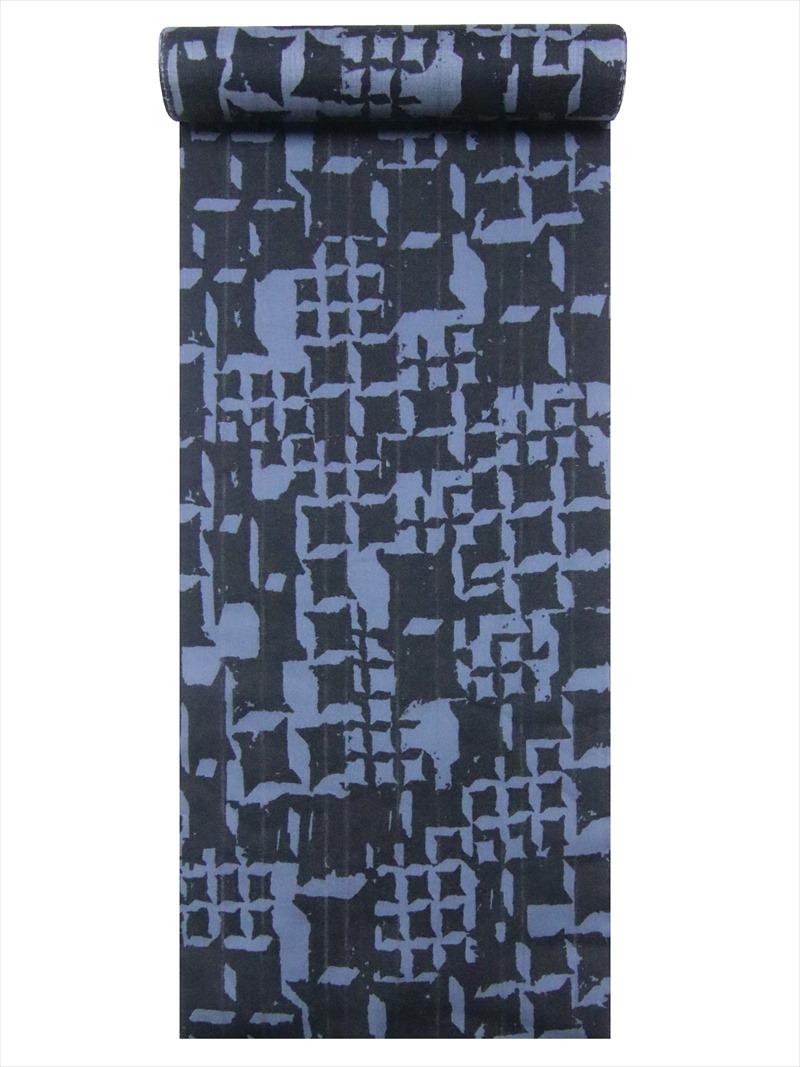 キングサイズ・ゆかた生地 メンズ浴衣反物 No.663黒・灰色・変則千鳥格子柄