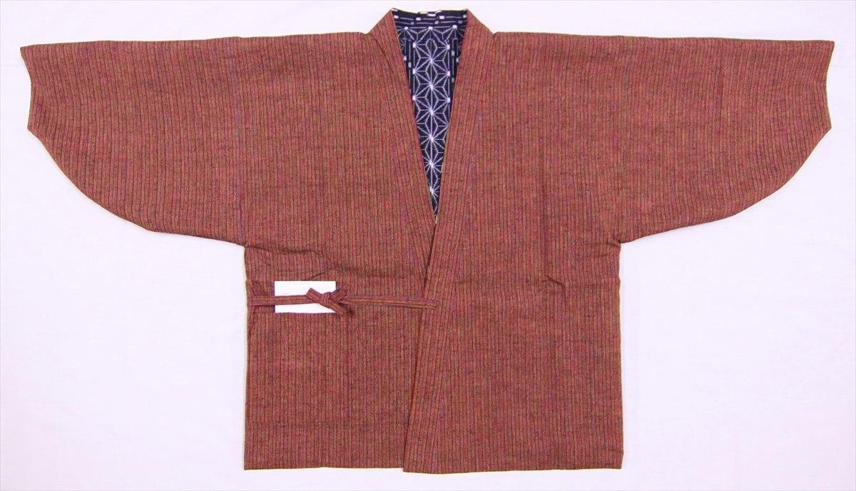両面和装コート No.19 濃紺・赤地・麻の葉・シマ柄
