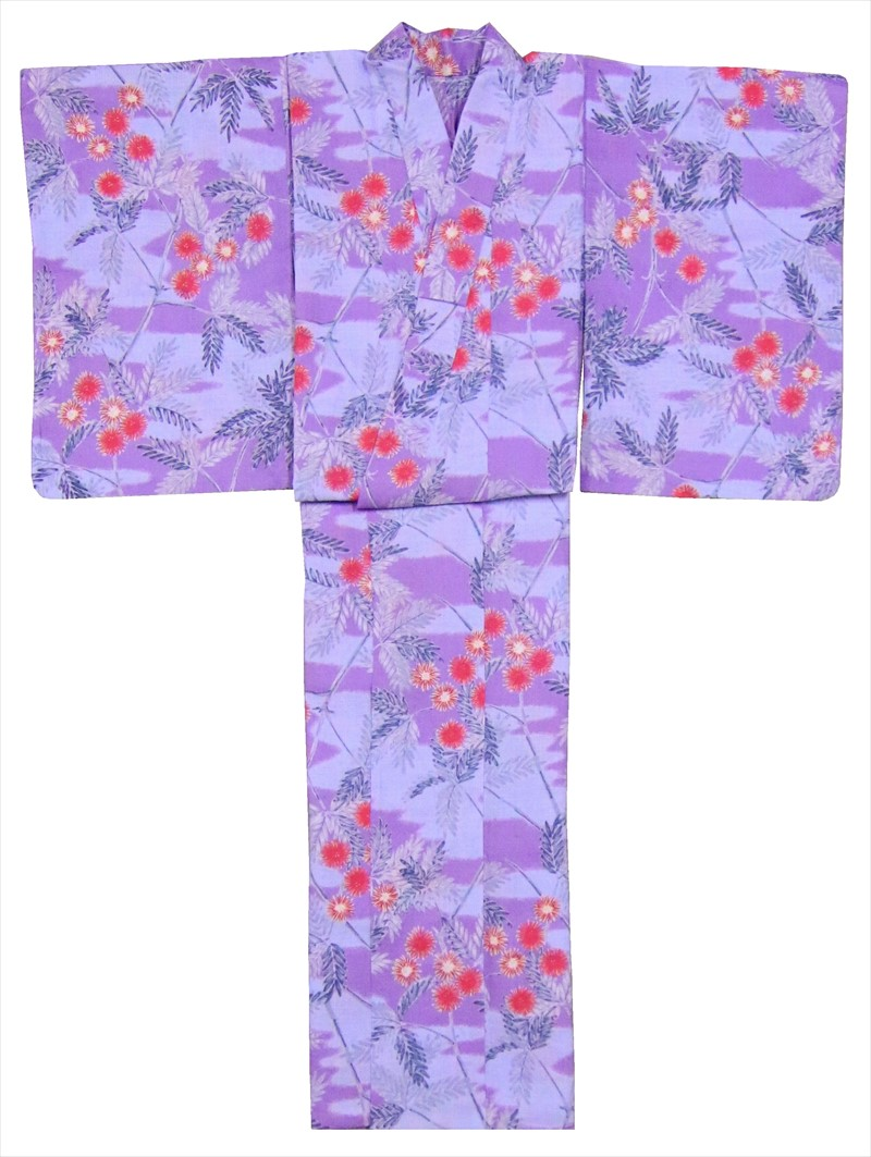ゆかた SY-140  紫・ブルー地・アザミ柄