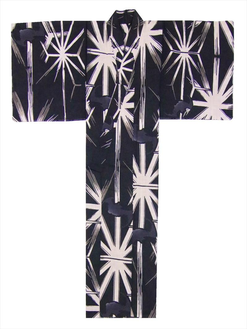 男物浴衣Lサイズ sy-204 コウモリ・麻の葉柄・黒地