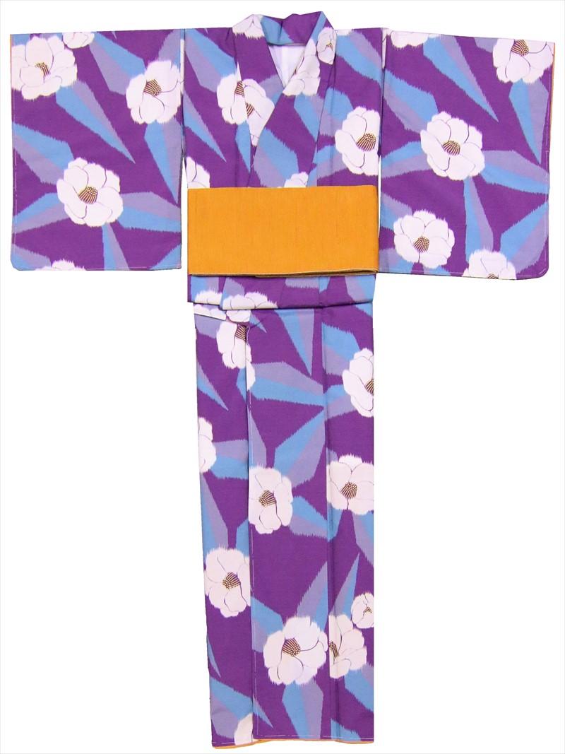 洗える着物 フリーサイズsk-12 紫・灰色・ツバキ柄