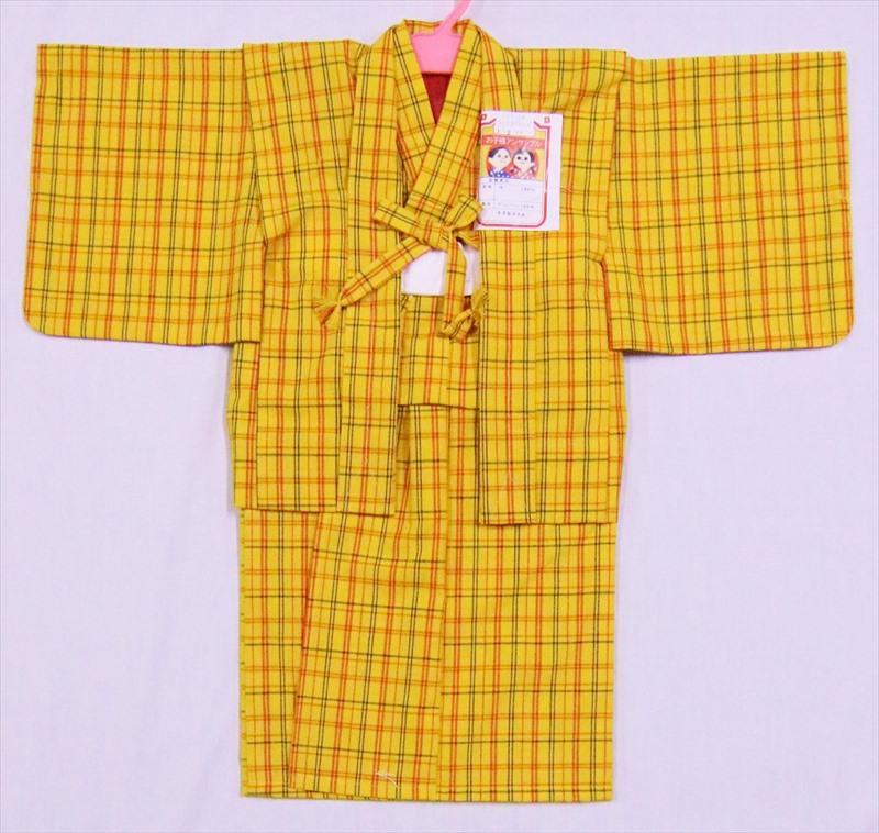 こども着物セット・ksk-3格子柄・黄色地・1,2歳用