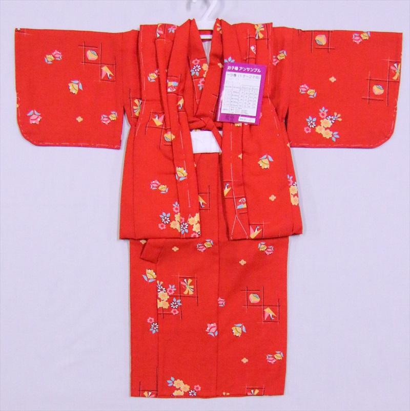 赤ちゃん着物・1,2歳用花・折鶴柄・赤地・ksk-7