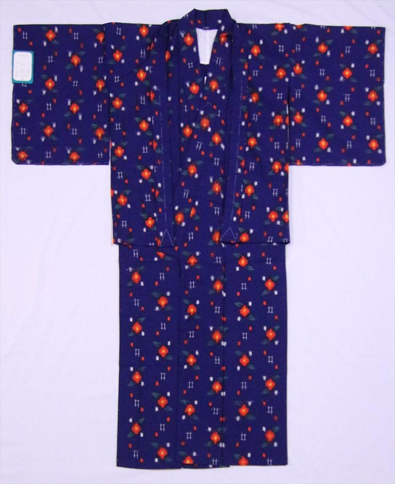 ハイジュニア着物・羽織り ksk-50 ツバキ柄・紺地