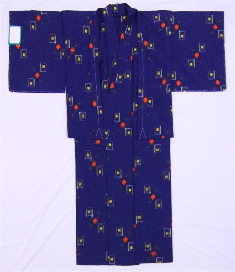 ハイジュニア着物・羽織り ksk-51 花短冊柄・紺地