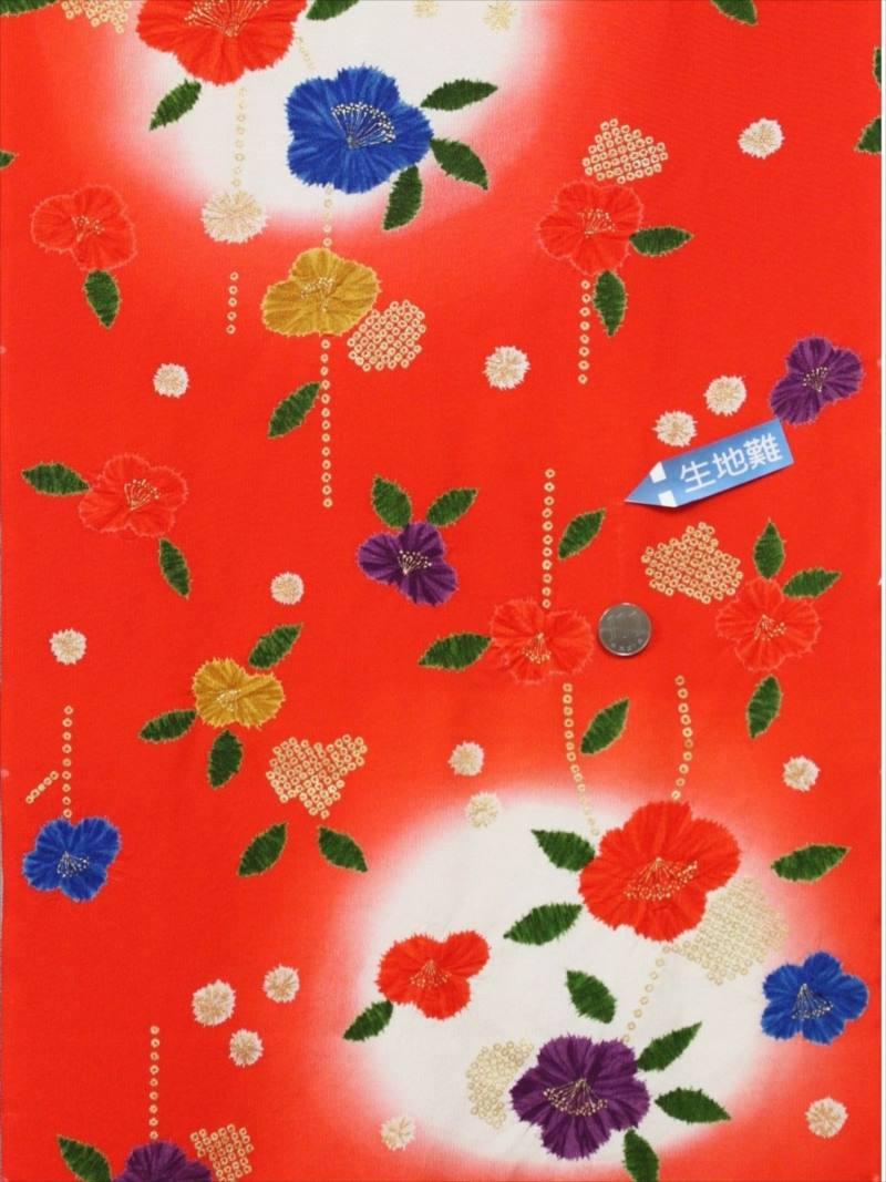 正絹きもの反物 kk-7 赤橙地・つばき柄