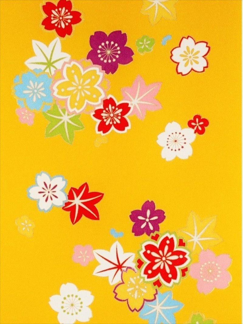 お子様着物反物 kk-50 黄色地・桜・紅葉柄