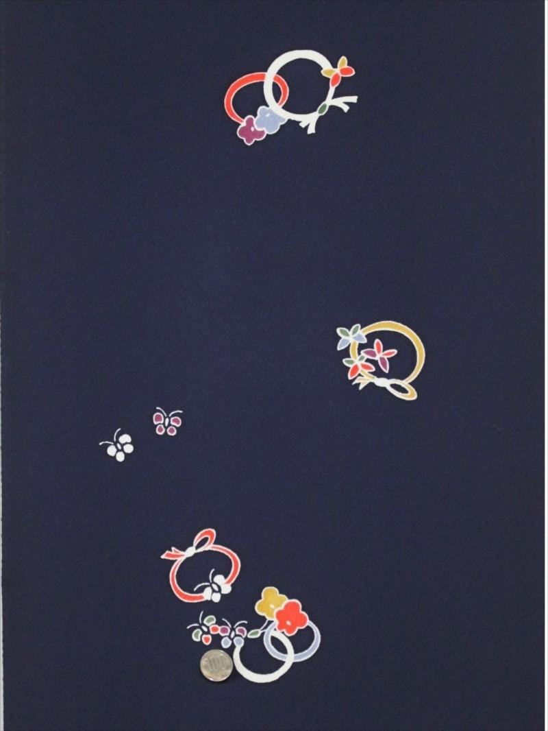 正絹呉服反物  kk-43 濃紺地・花・蝶・結び柄