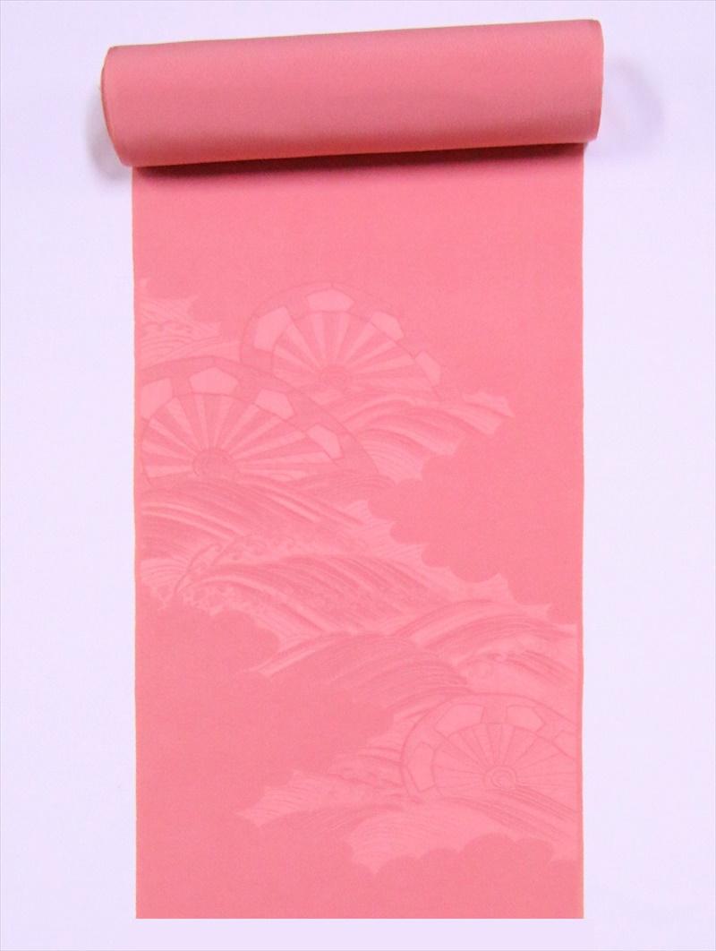 反物(八掛付) 附下・ts-19片輪車紋柄・ピンク地