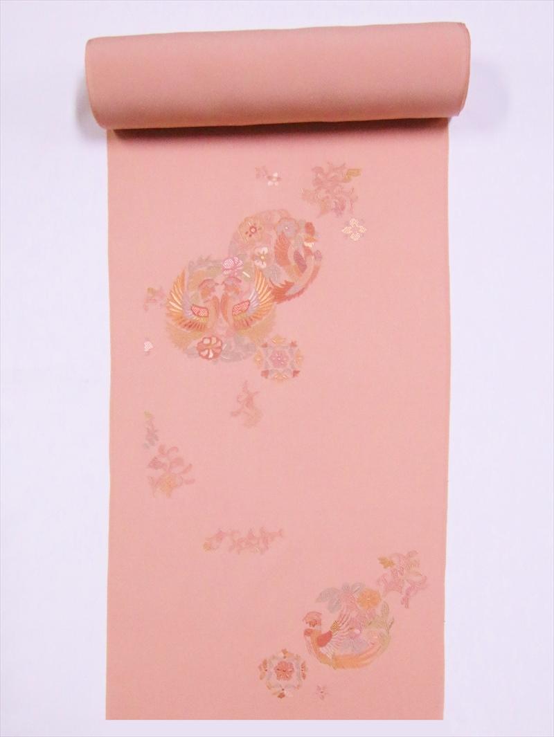 反物(八掛付) 附下・ts-22鳳凰柄・ピンク地・蘇州刺繍