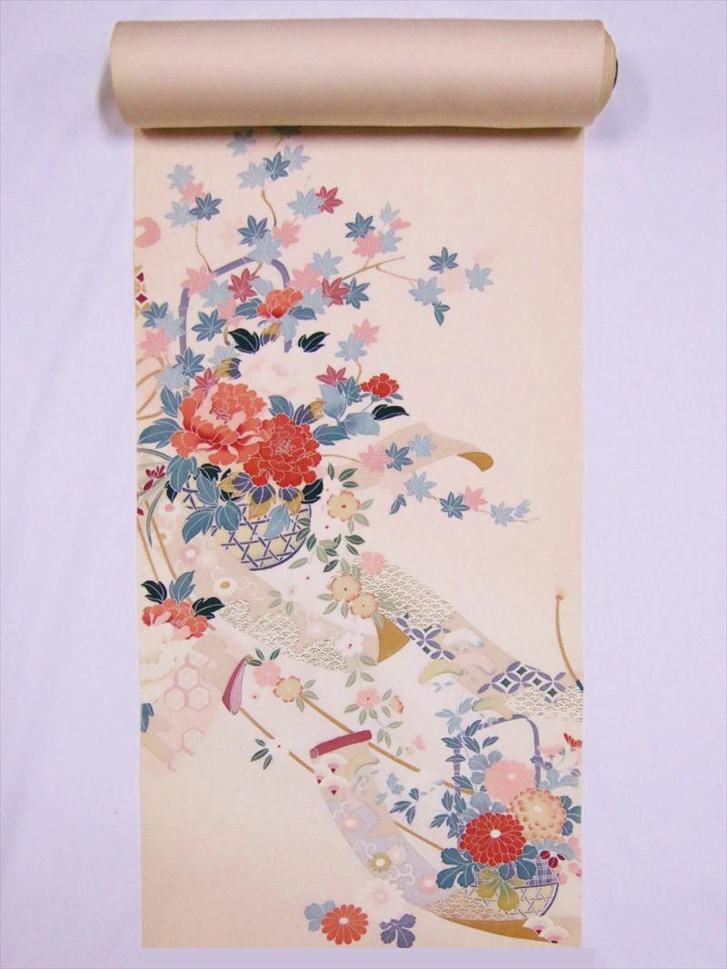 附下反物 加賀調・ts-25花篭柄・うすピンク地