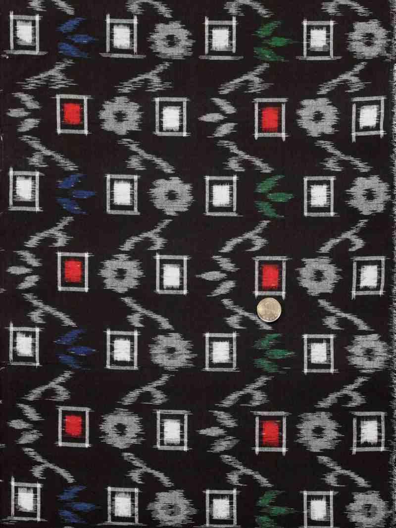 綿の着物生地 kr-17 花升柄・黒地