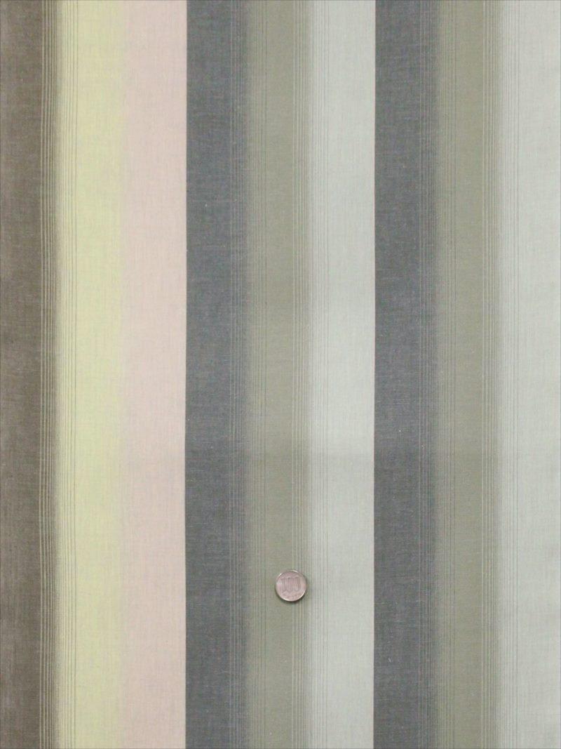 キングサイズ 木綿 反物 シマ柄・薄緑地・kr-9