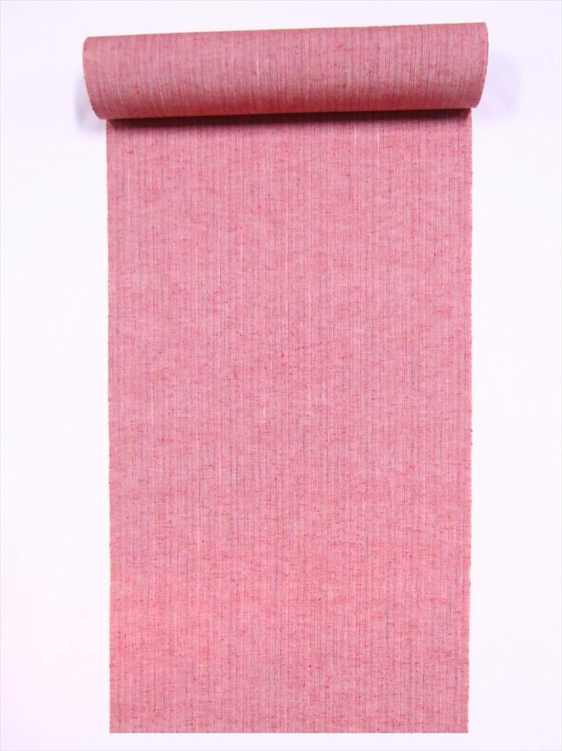 綿きもの生地 遠州綿紬 2020A/W新作送料無料 反物 雨絣シマ柄 kr-47 大幅にプライスダウン 赤ピンク地