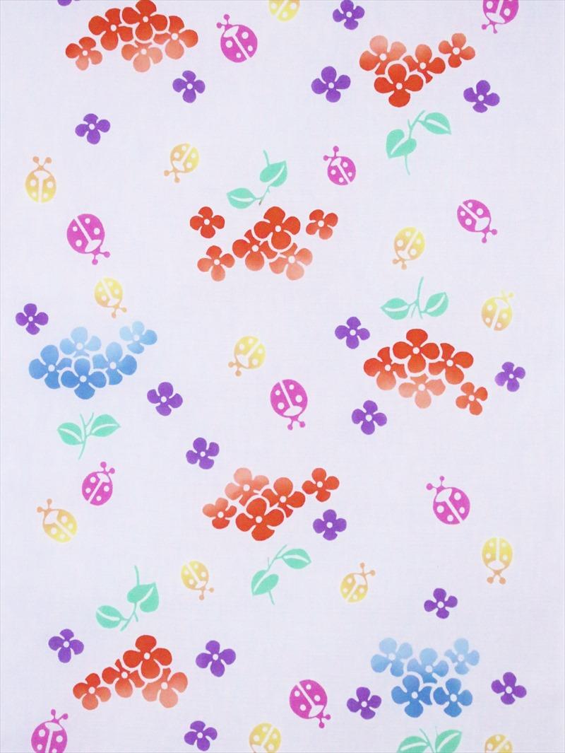 こども浴衣反物(7.6m) No.863・白地・菜の花柄
