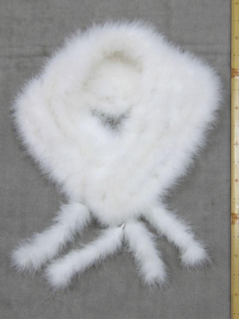 両面フェザーショール fs-8 高級羽毛・白地
