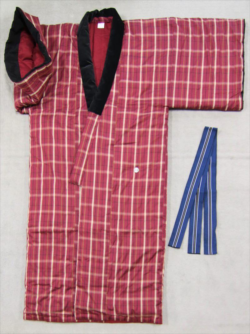 女性用綿入れ丹前・tz-26市松柄・真紅色(丹前帯付)