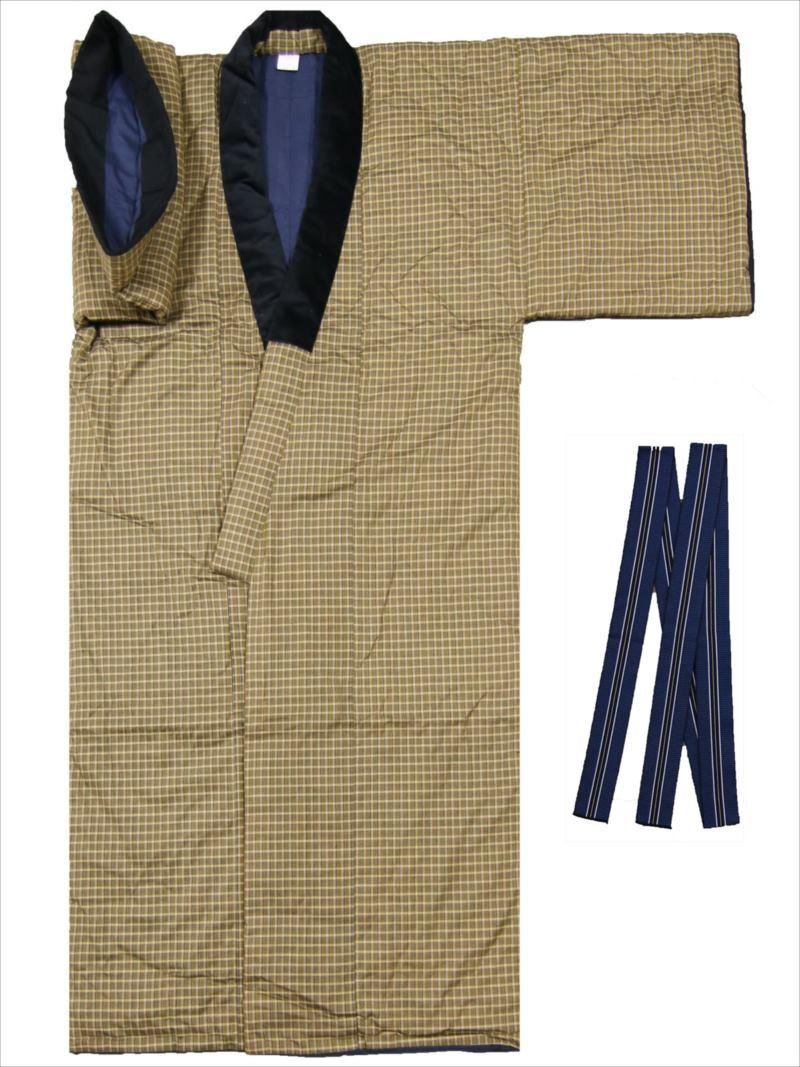 綿入れドテラ・タンゼン tz-49格子柄・カラシ地(丹前帯付)