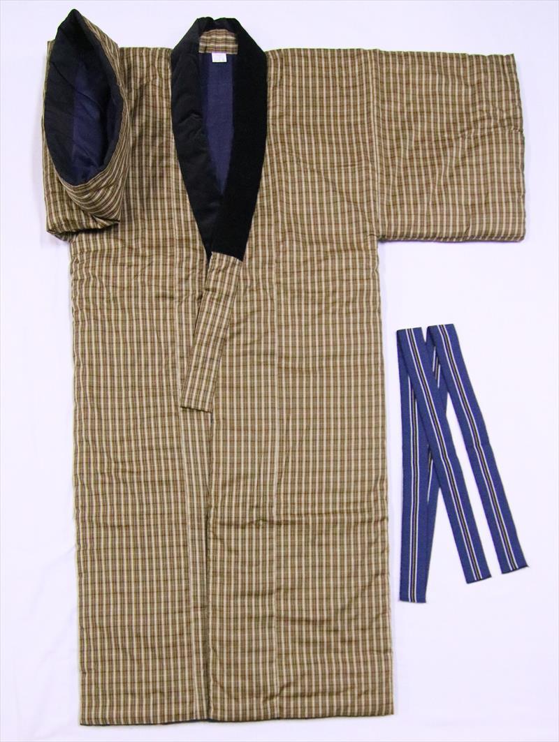 丹前・どてら(丹前帯付)tz-48・辛子地・格子柄・L寸, モアネット casual select:903c52db --- officewill.xsrv.jp
