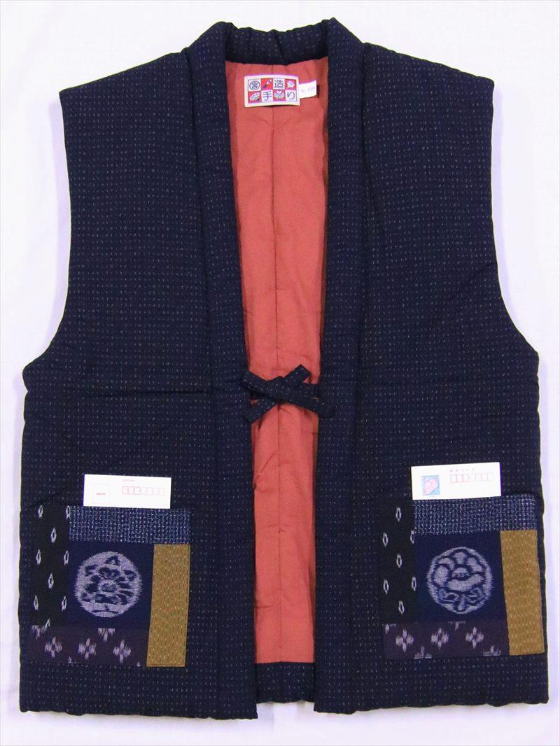 半天 袖なし・ポンチョht-50・ツバキ柄・濃紺地