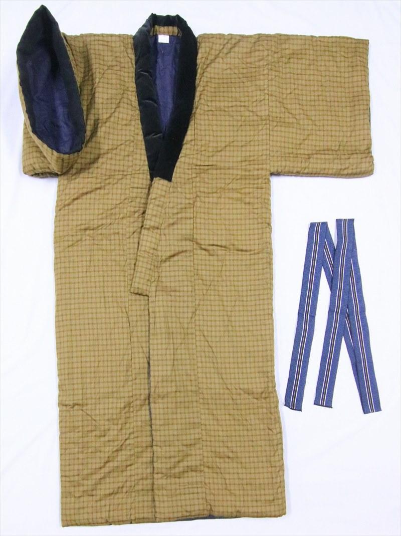 丹前・ドテラ・丹前帯付きtz-28・格子柄・カラシ色