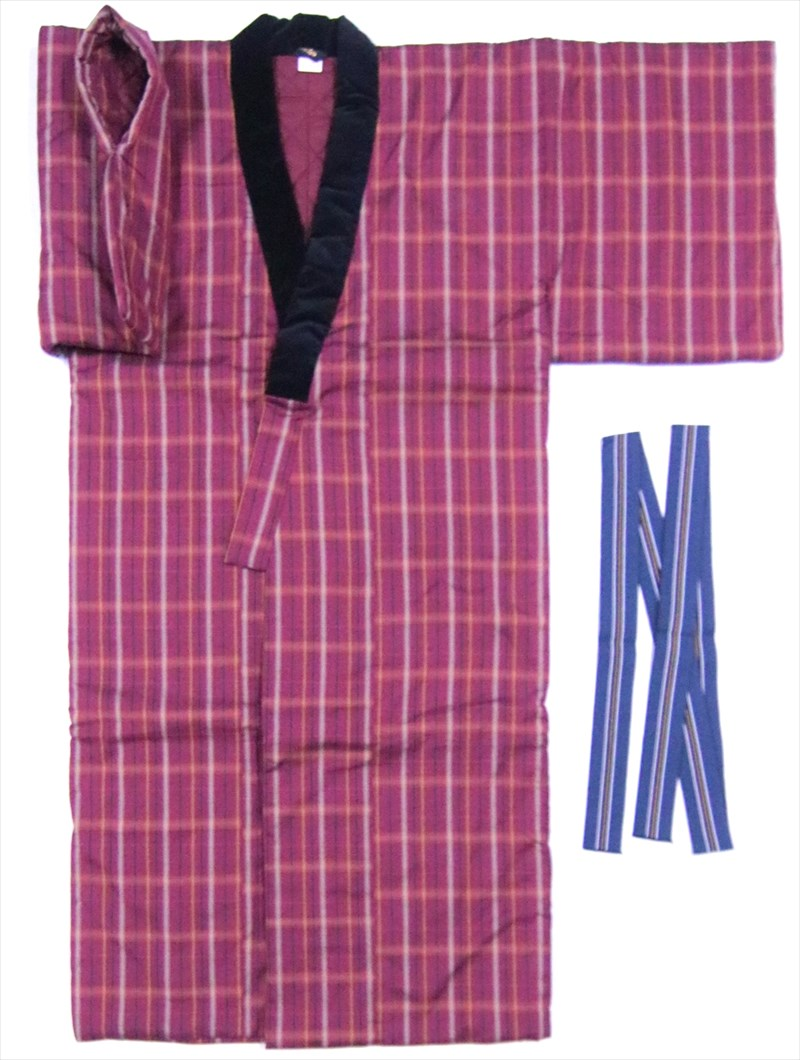 ファクトリーアウトレット 丹前 通販 褞袍 どてら 丹前寝具 半纏 赤紫地 丹前綿 長半纏 在庫限り М寸 tz-87 丹前帯付