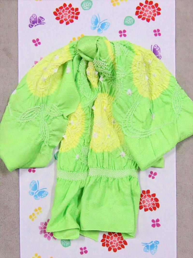 子ども浴衣帯(3.5m)・No.51 黄緑地・黄絞り