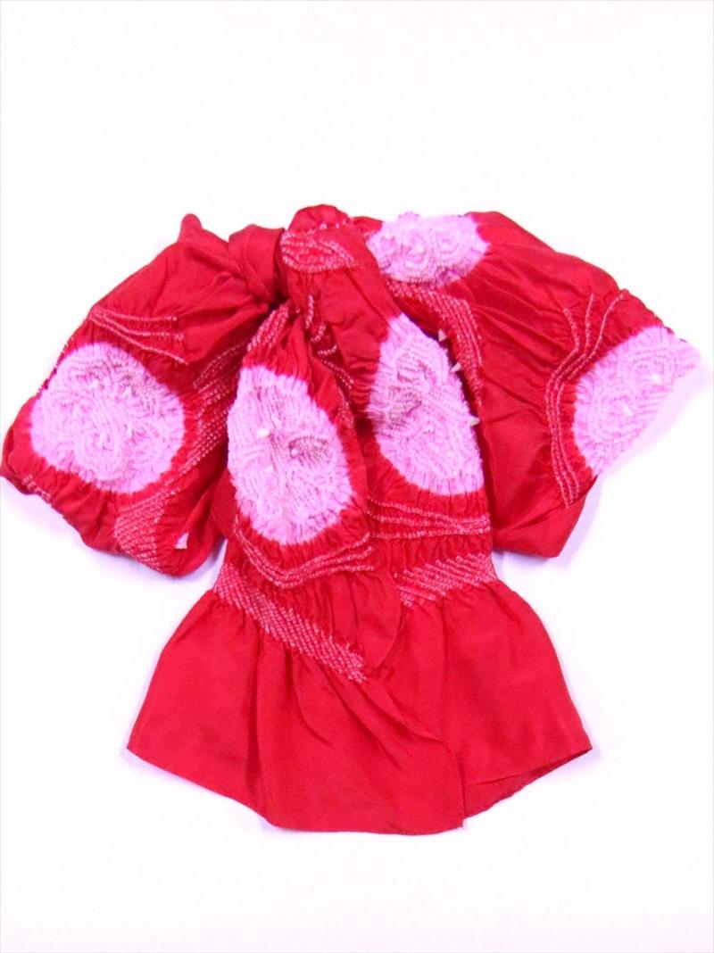 高級子供ゆかた帯 モデル着用&注目アイテム 三尺帯 絹100% 女児用 兵児帯 ピンク絞り 赤地 贈物 3.5m No.20
