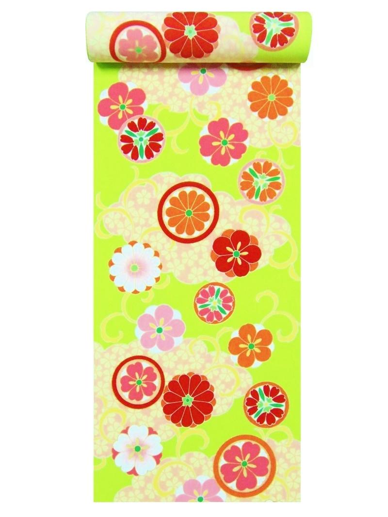 洗えるきもの反物 a-36・黄緑地・菊・桜柄