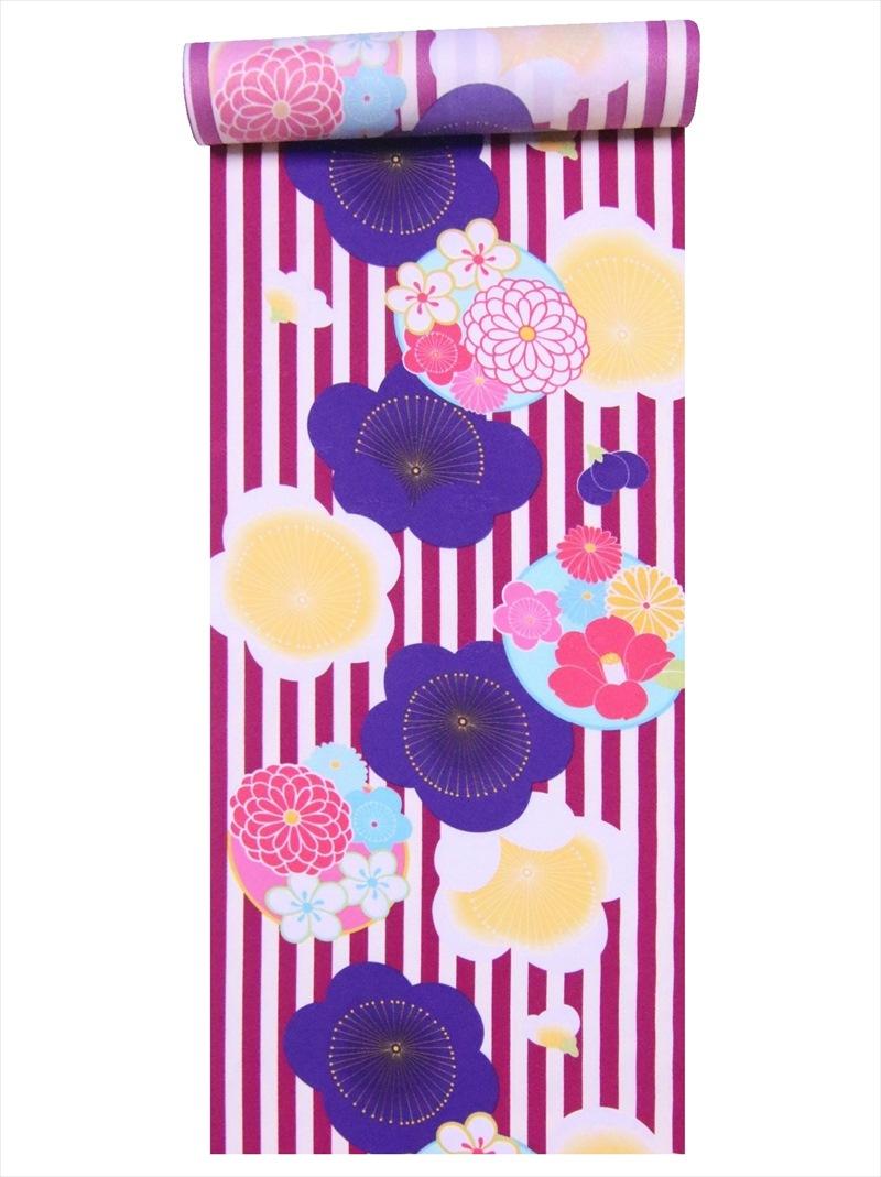 ポリエステルきもの生地 ハイクオリティ 合繊着尺 洗える着物反物 a-95 シマ柄 梅 感謝価格 紫白地
