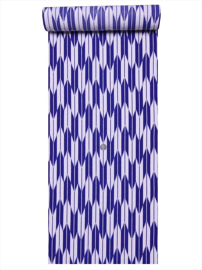 ポリエステルきもの 新品未使用正規品 生地 洗える着物反物 代引き不可 a-4 紺白地 矢羽根柄