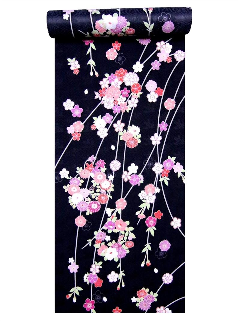 洗える着物 反物・a-158枝垂れ桜・花柄・黒地
