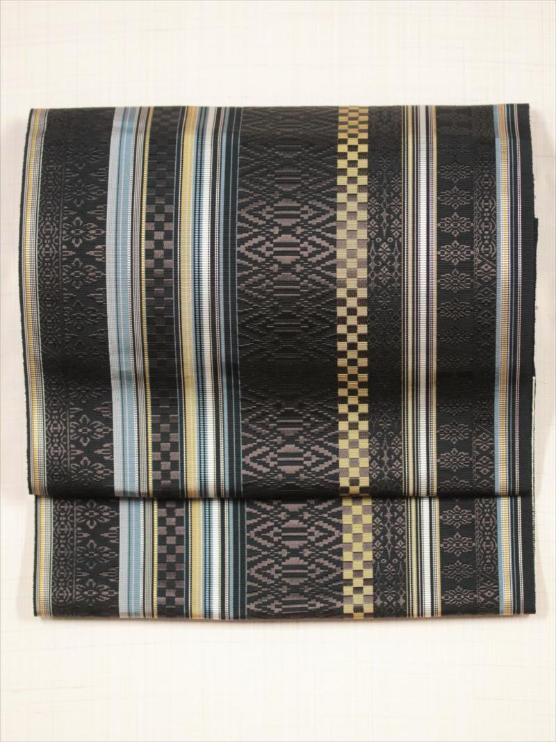 博多織り八寸帯 ob-28 黒地・こげ茶・献上柄