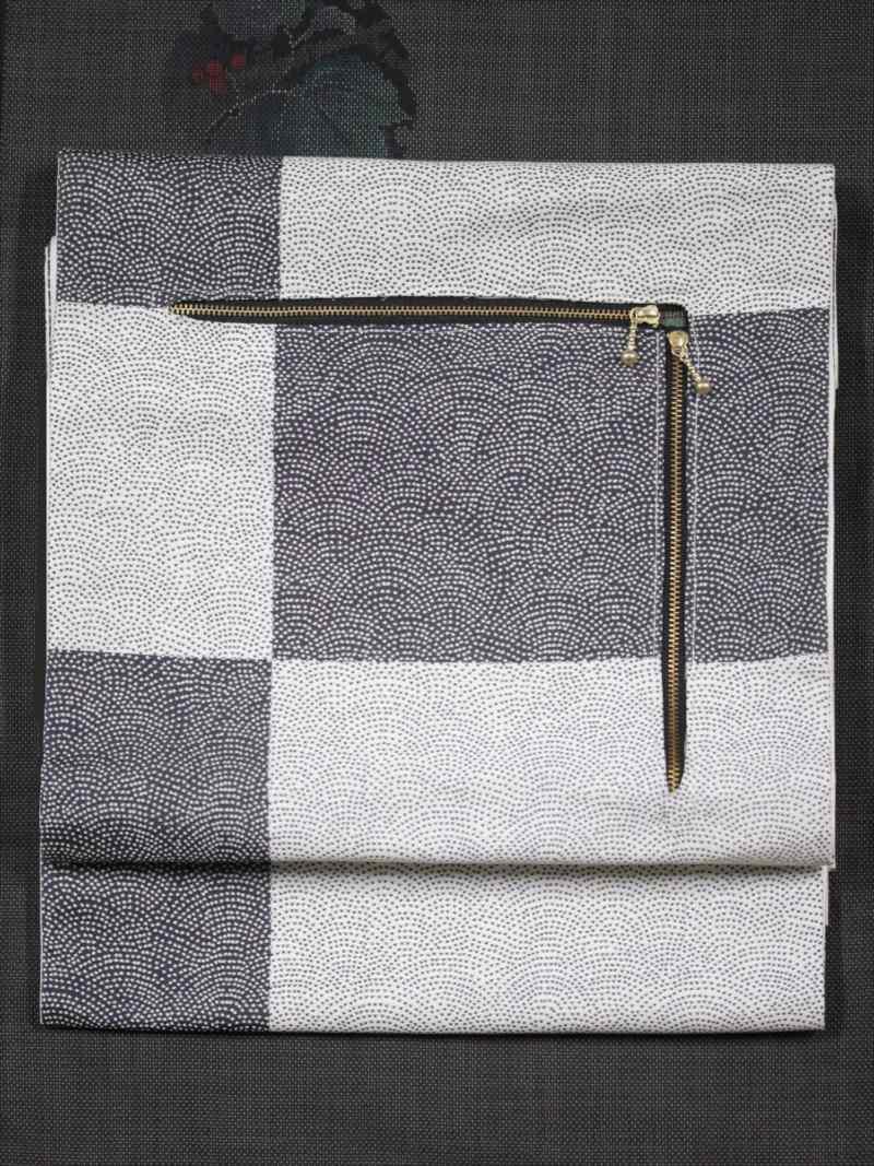 珍しい特殊な袋帯・fo-3市松・鮫小紋柄・グレー地