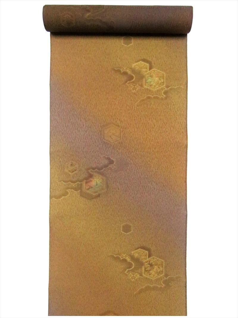 正絹 生地 羽尺 反物 送料0円 バーゲンセール 亀甲柄 hj-30 訳有り カラシ地