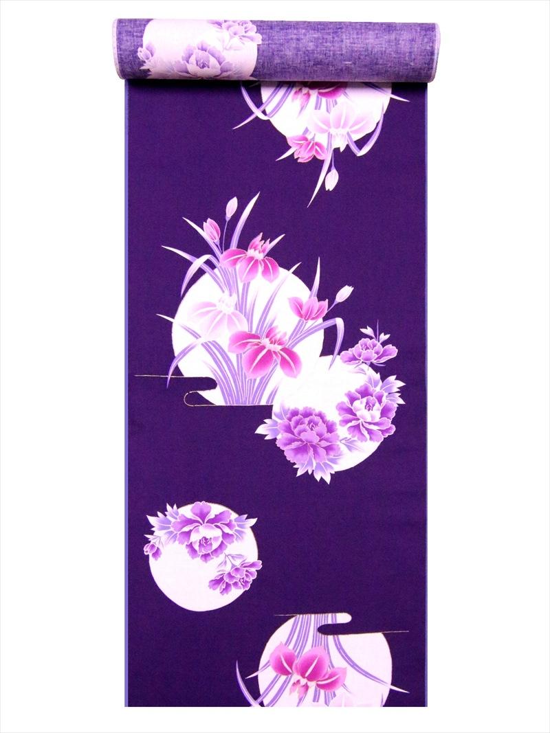 金彩ゆかた反物 No.299 紫地・アヤメ・牡丹柄
