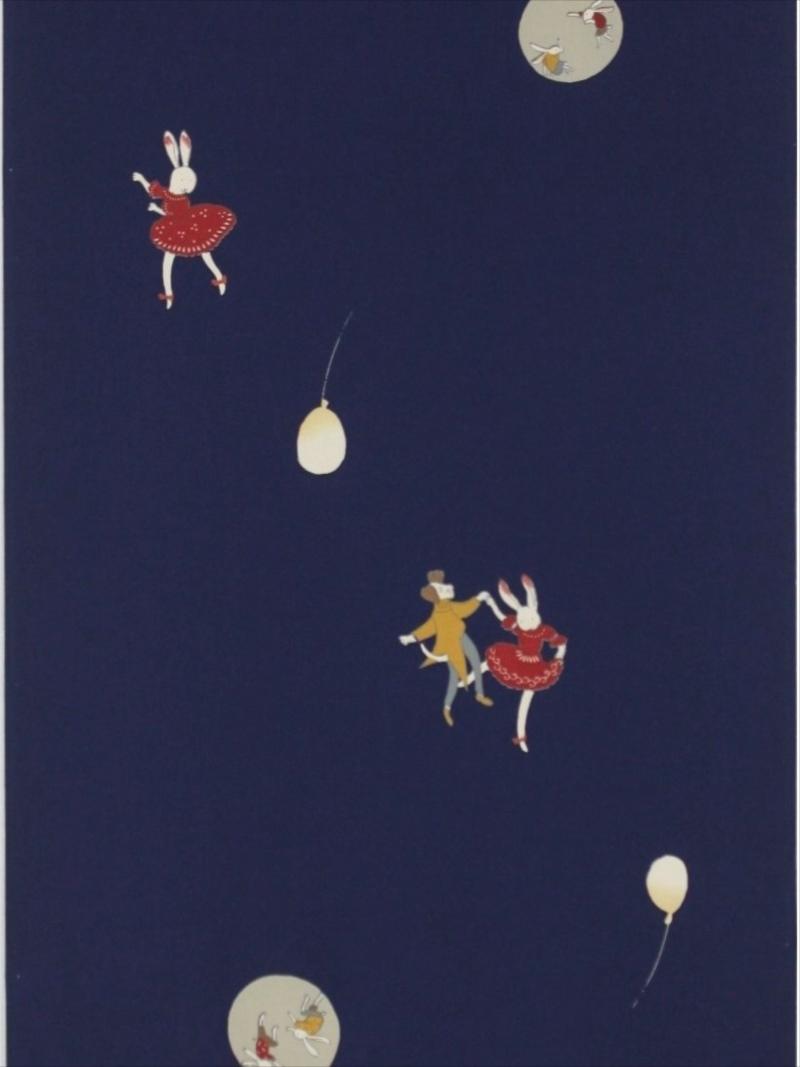 羽織裏 通販 hu-42 ウサギのダンス柄・濃紺地