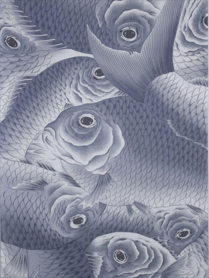 正絹羽織り裏地(6m)hu-72・鯛柄・灰色地