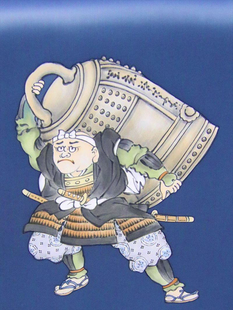 額裏 羽裏 男性 gu-10 藍色地・弁慶の引き摺り鐘柄