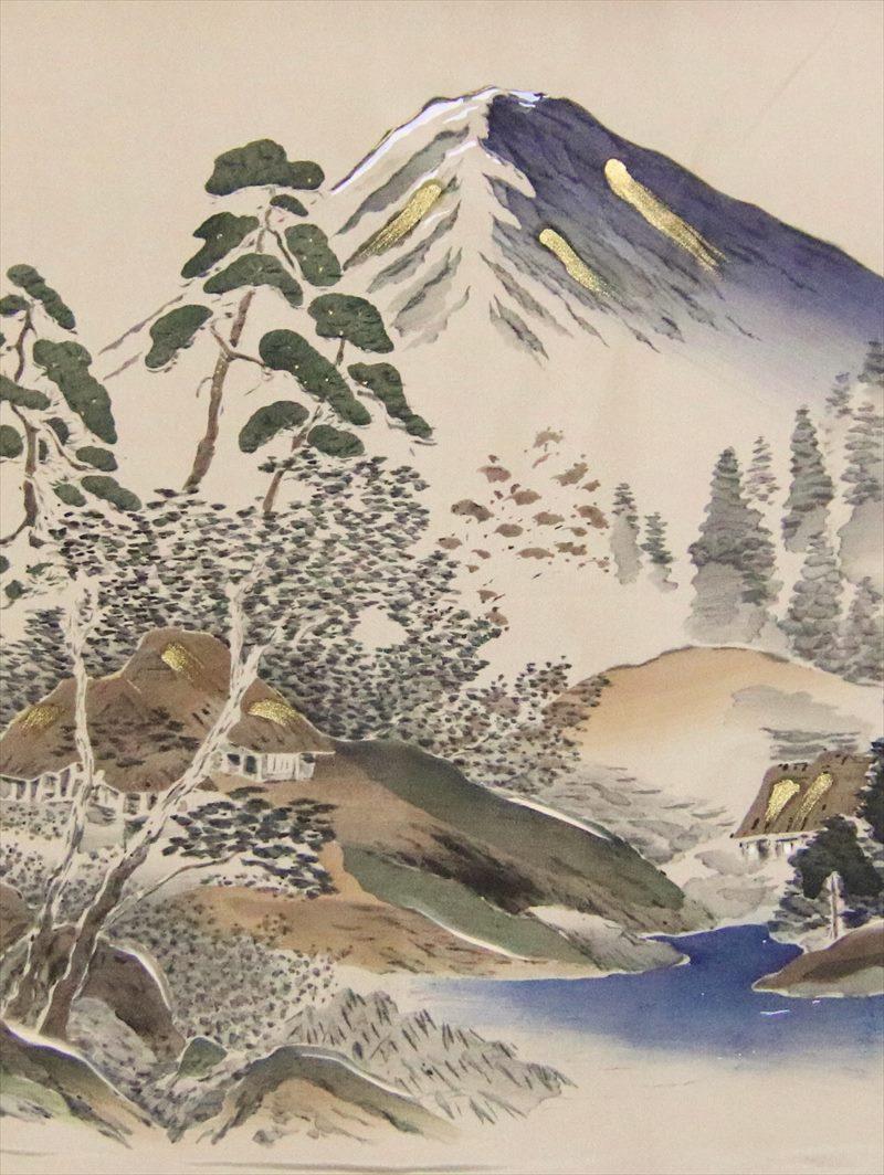 額裏 羽裏 男性 gu-25 うす茶色地・富士山柄