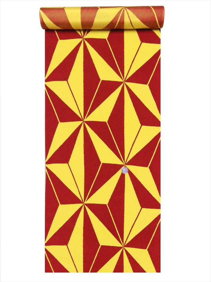 大胆な柄の和洋装裏地 5.8m 羽裏 買い取り 黄赤地 麻の葉柄 全国どこでも送料無料 hu-10